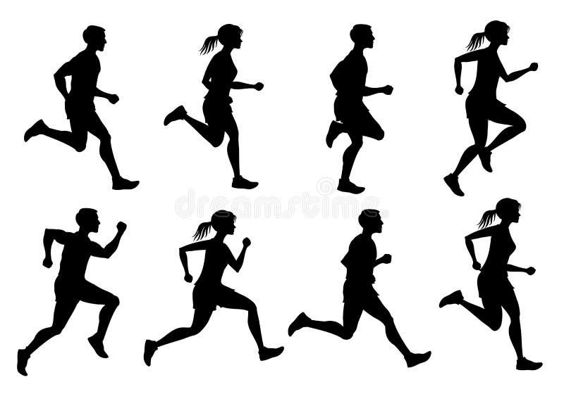 O homem running e os povos fêmeas, movimentando-se vector silhuetas ilustração do vetor