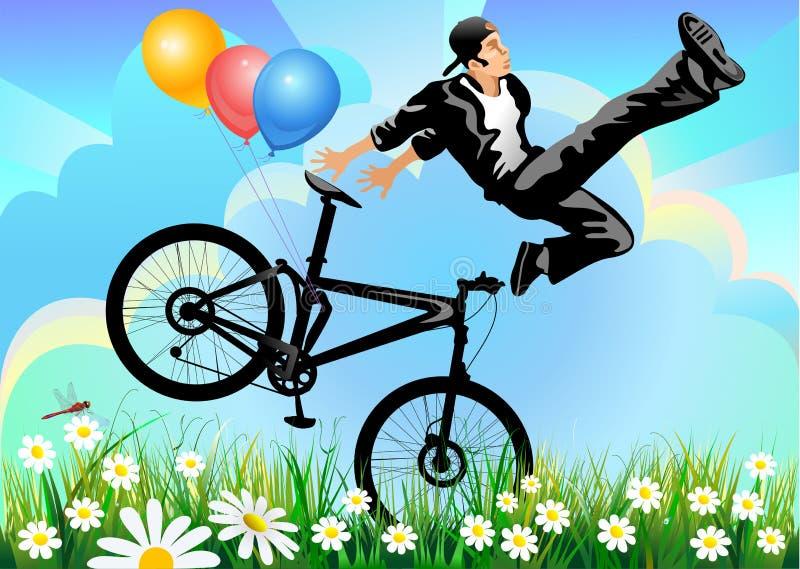 O homem salta na muontain-bicicleta ilustração stock