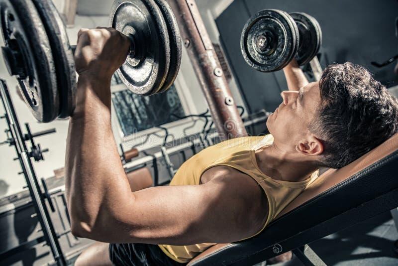 O homem saudável novo treina seus pesos de levantamento da caixa fotos de stock royalty free