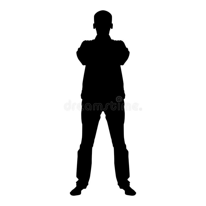 O homem seguro cruzou sua ilustração de cor do preto do ícone da opinião dianteira do conceito da silhueta do homem de negócio do ilustração stock