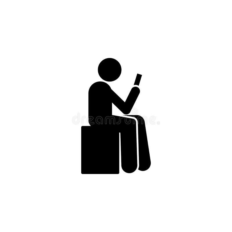O homem, senta-se para baixo, usa o ícone do telefone Elemento do telefone humano do uso Ícone superior do projeto gráfico da qua ilustração stock