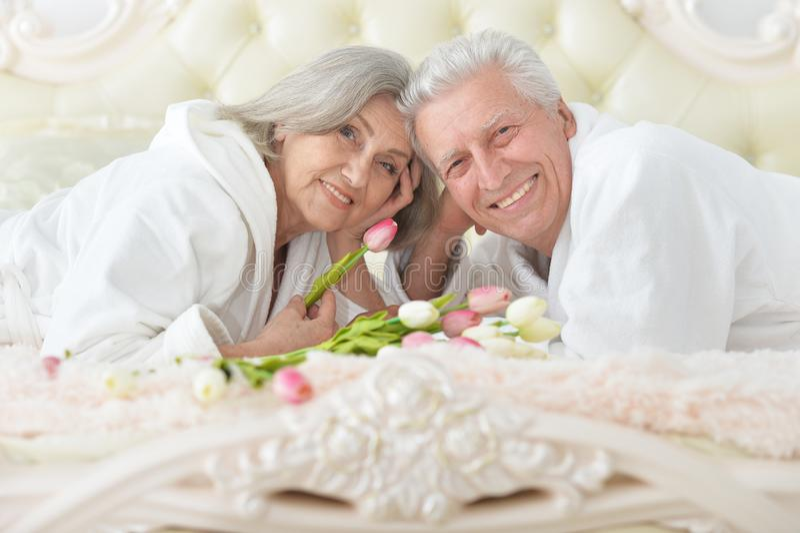 O homem superior dá flores a uma mulher fotos de stock royalty free