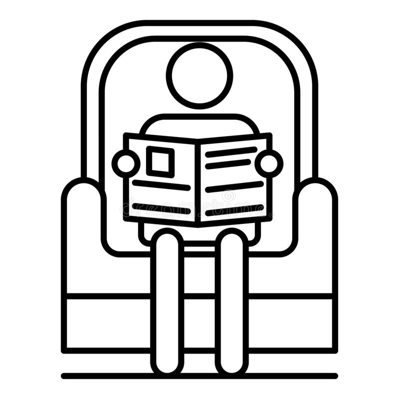 O homem superior leu o jornal no ícone da poltrona, estilo do esboço ilustração do vetor
