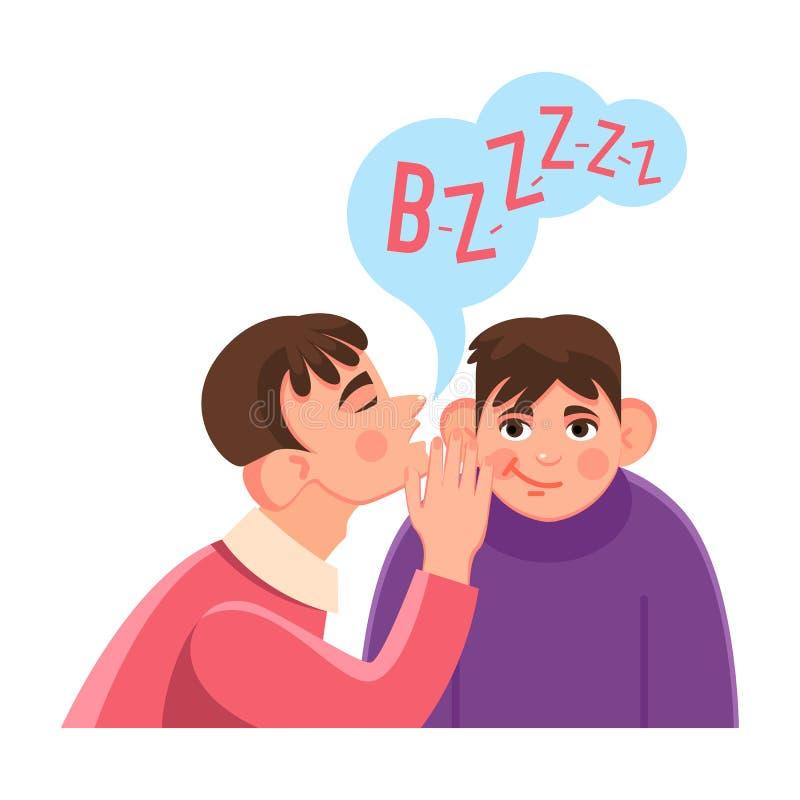 O homem sussurra o segredo na orelha grande dos amigos com nuvem do discurso ilustração stock