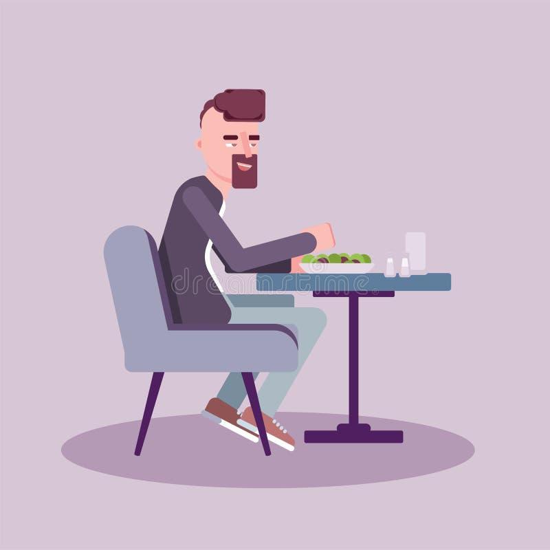 O homem tem o almoço na ilustração lisa do vetor do café ilustração stock