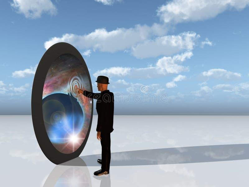 O homem toca na entrada dimensional extra ilustração royalty free