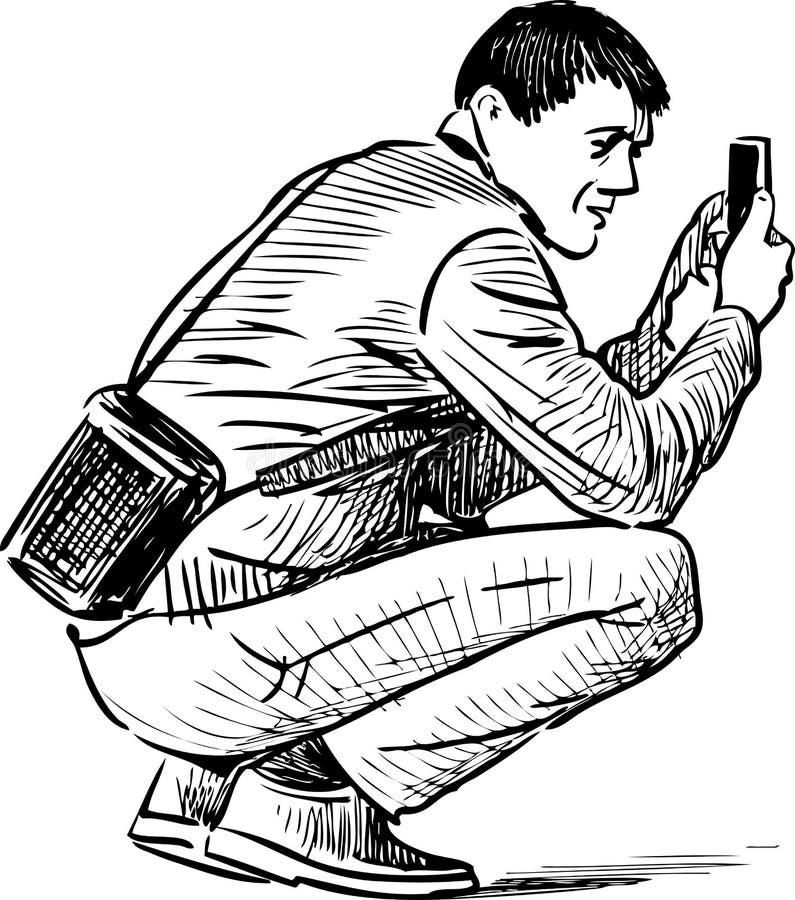 O homem toma a imagem em um telefone celular ilustração royalty free