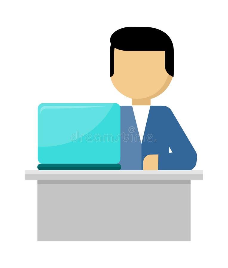 O homem trabalha com portátil e analisa o Web site Vetor ilustração stock