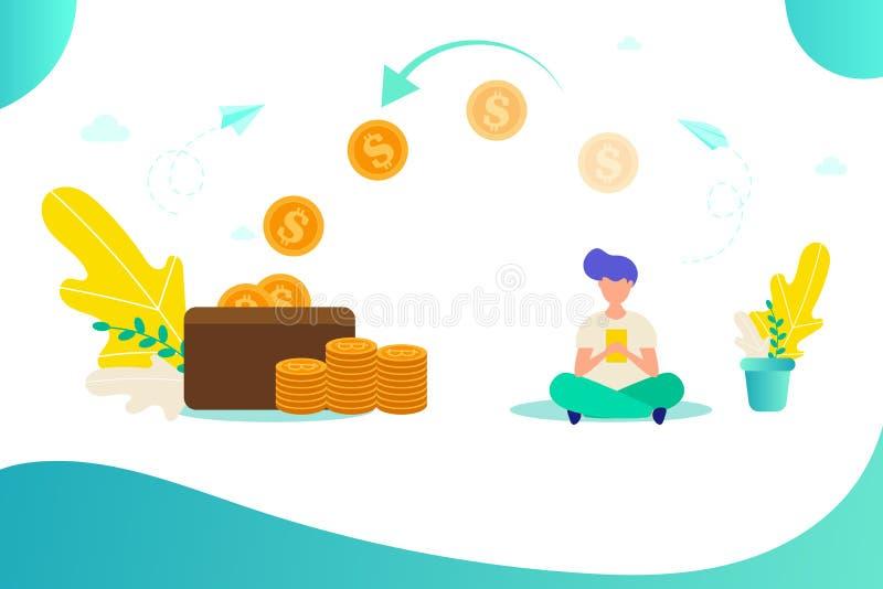 O homem trabalha em linha, conceito de ganhar o dinheiro em linha ilustração stock