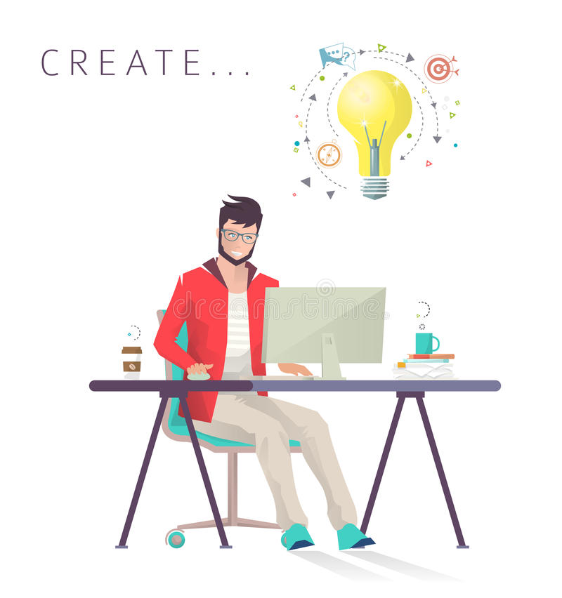 O homem trabalha no computador ilustração stock