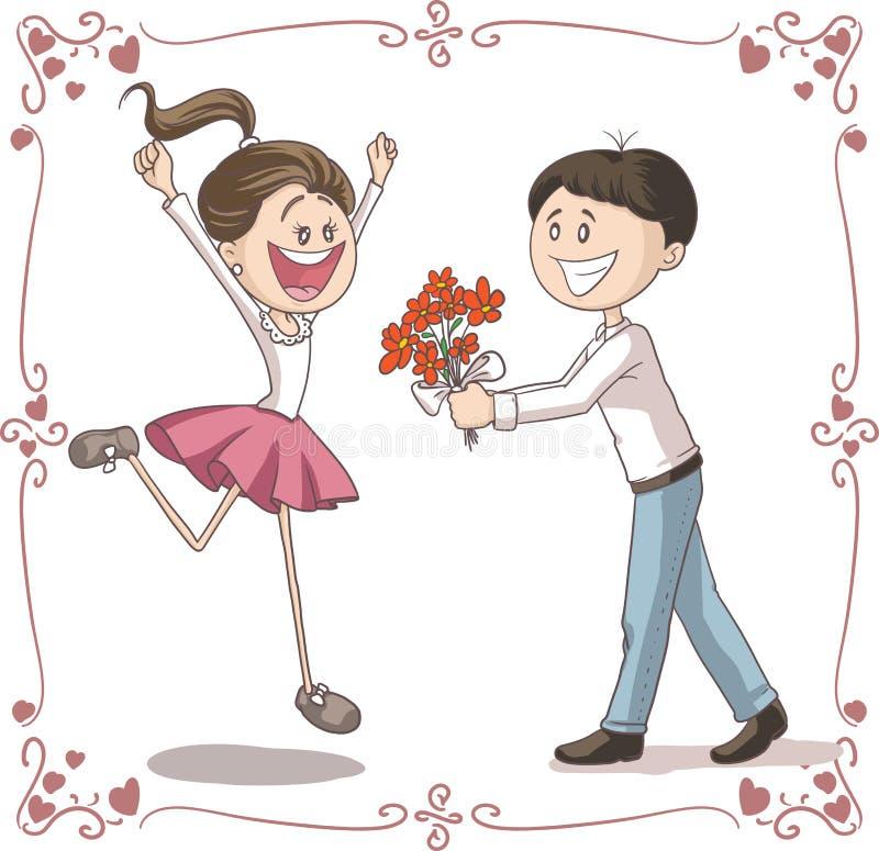 O homem traz flores para recuar desenhos animados do vetor da mulher ilustração royalty free