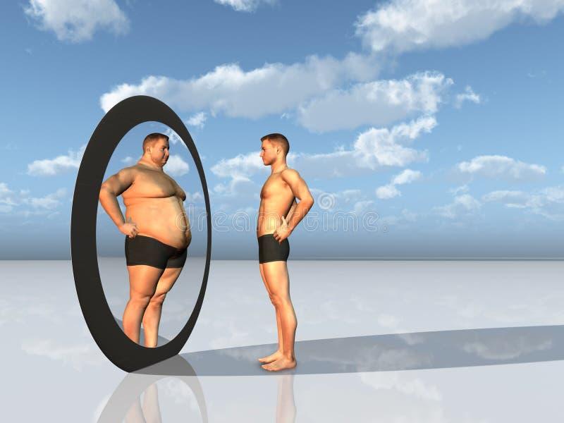 O homem vê o auto do excesso de peso no espelho ilustração stock