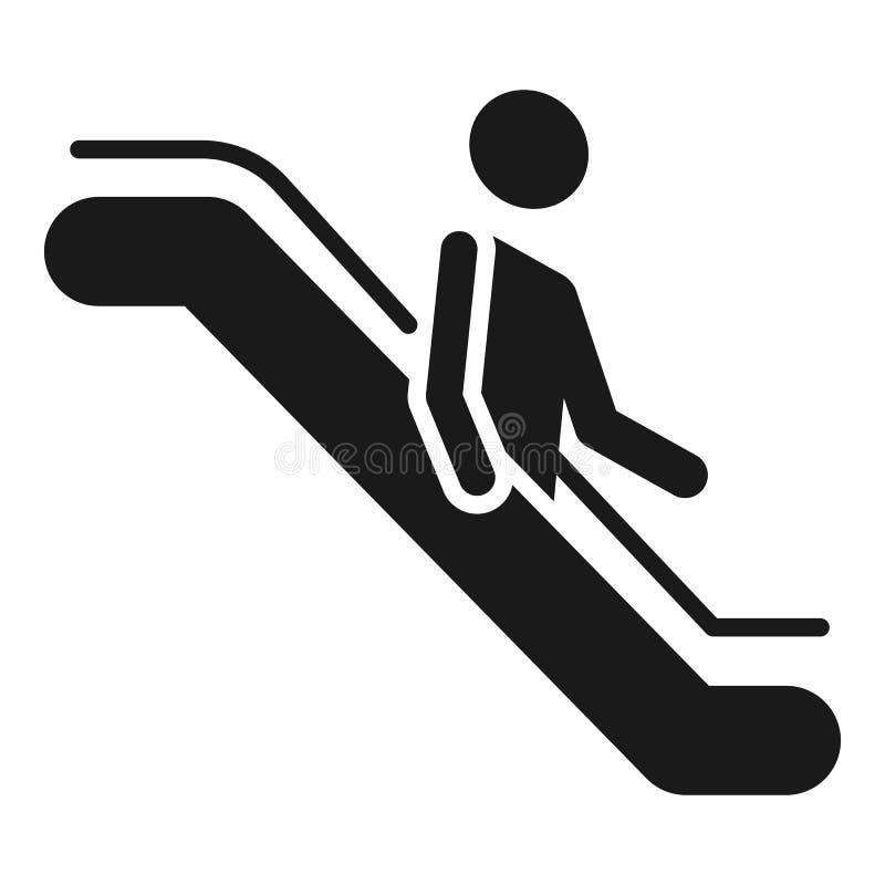 O homem vai abaixo do ícone da escada rolante, estilo simples ilustração stock