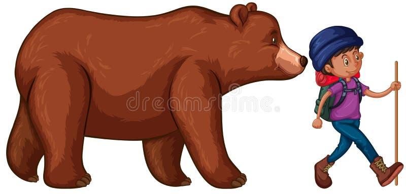 O homem vai caminhar com a Big Bear atrás dele ilustração royalty free