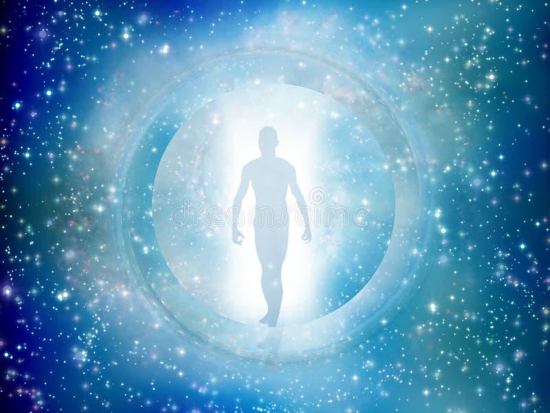 O homem vem através da porta da estrela ilustração do vetor