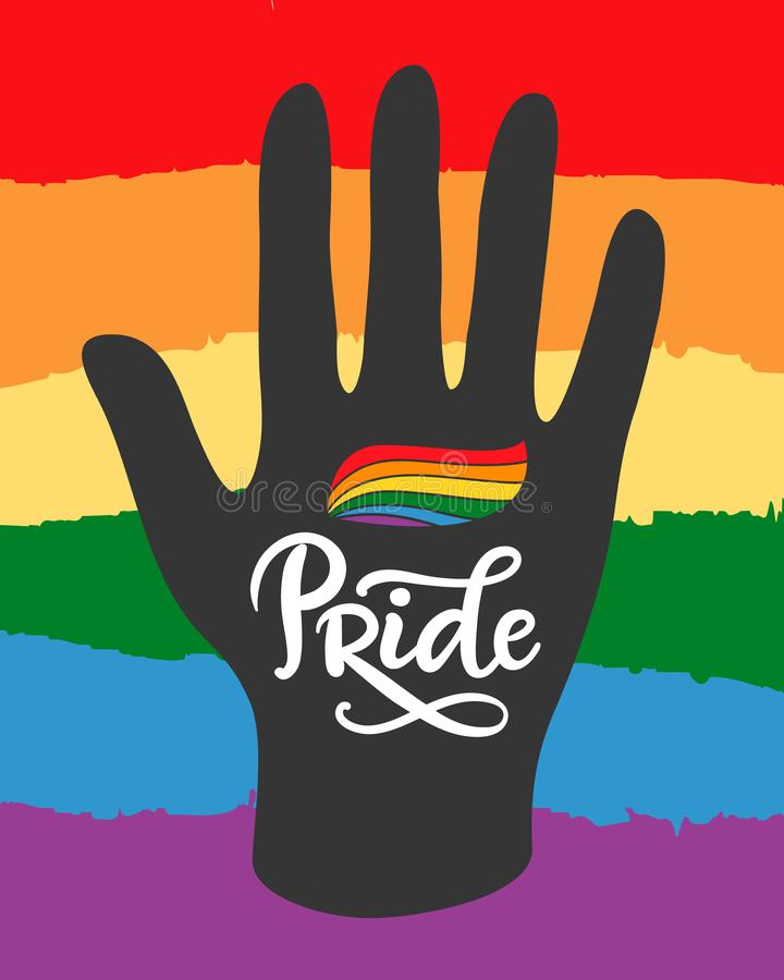 O homossexual, cartaz lésbica do orgulho com arco-íris embandeira à disposição LGBT endireita o conceito ilustração do vetor