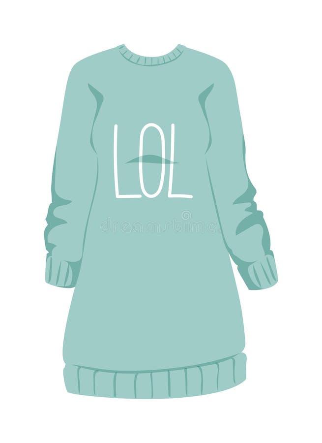 O hoodie azul do estilo da camiseta fêmea e a roupa morna da ligação em ponte do algodão projetam a ilustração lisa do vetor ilustração do vetor