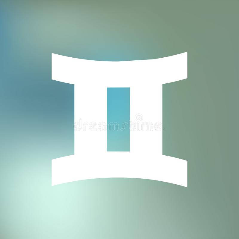 O HORÓSCOPO dos Gêmeos ASSINA ZODÍACO do 21 de maio - 20 de junho, em um fundo azul da névoa do bokeh ilustração stock