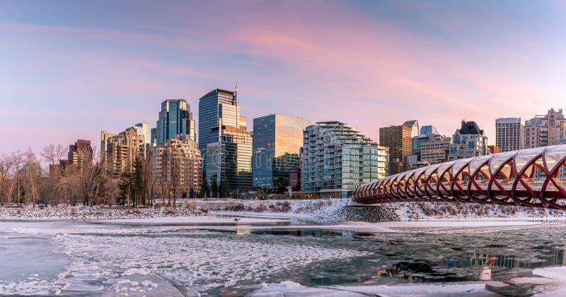 O horizonte de Calgary ao longo do rio Bow imagens de stock