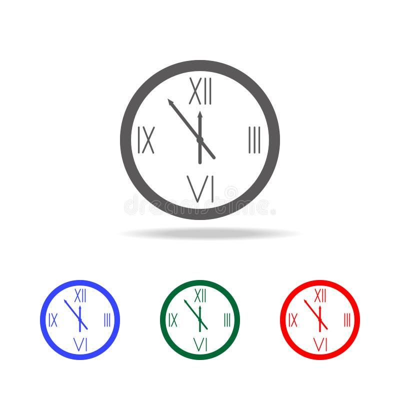 O \ 'horloge, icône de bonne année Éléments de l'hiver dans les icônes colorées multi Icône de la meilleure qualité de conception illustration de vecteur
