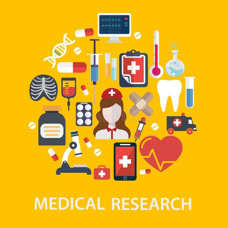 O hospital médico e a ambulância assinam a ilustração do vetor do conceito dos cuidados médicos da composição ilustração stock