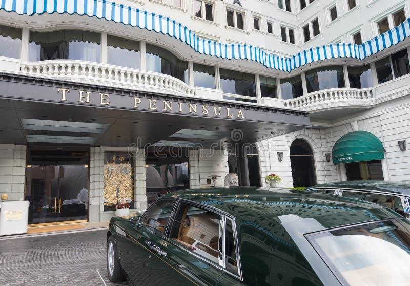 O hotel da península com as rolls royce em Hong Kong foto de stock
