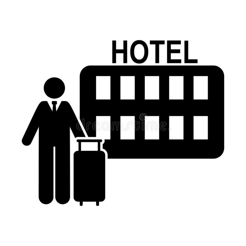 O hotel, homem, curso, vai ícone Elemento do ícone do pictograma do hotel ?cone superior do projeto gr?fico da qualidade sinais e ilustração royalty free