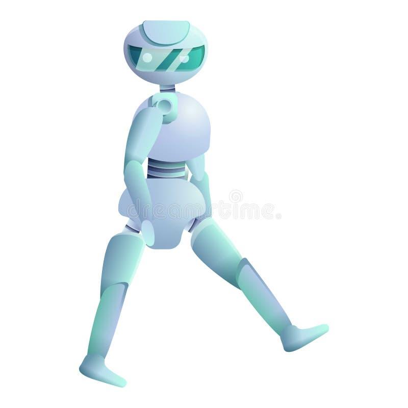 O Humanoid está andando o ícone, estilo dos desenhos animados ilustração do vetor