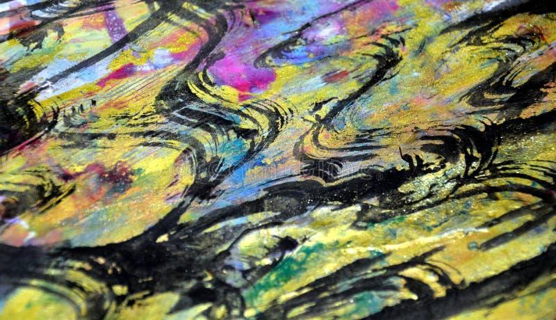 O hypnotic roxo dourado borrado espirra, cores cerosos vívidas coloridas, fundo criativo dos contrastes fotos de stock