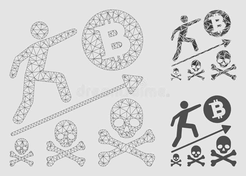 2.o icono del mosaico del modelo y del triángulo de Bitcoin del logro de la malla mortal del vector libre illustration