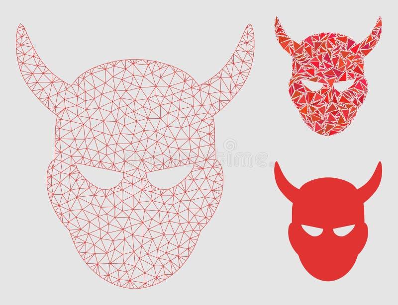 2.o icono del mosaico del modelo y del triángulo de Daemon Head Vector Mesh stock de ilustración