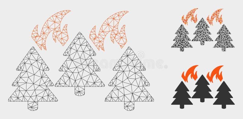 2.o icono del mosaico del modelo y del triángulo de Forest Fire Disaster Vector Mesh ilustración del vector