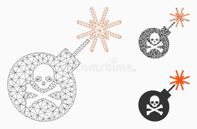 2.o icono del mosaico del modelo y del triángulo de la bomba de la malla mortal del vector ilustración del vector