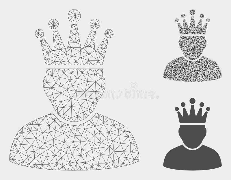 2.o icono del mosaico del modelo y del triángulo de rey Vector Mesh ilustración del vector