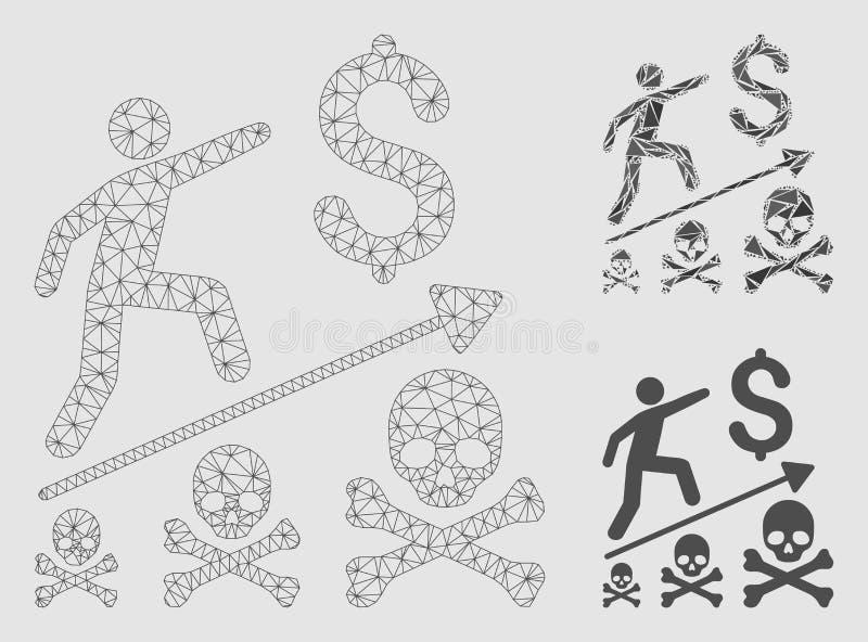 2.o icono del mosaico del modelo y del triángulo del negocio del logro de la malla mortal del vector stock de ilustración