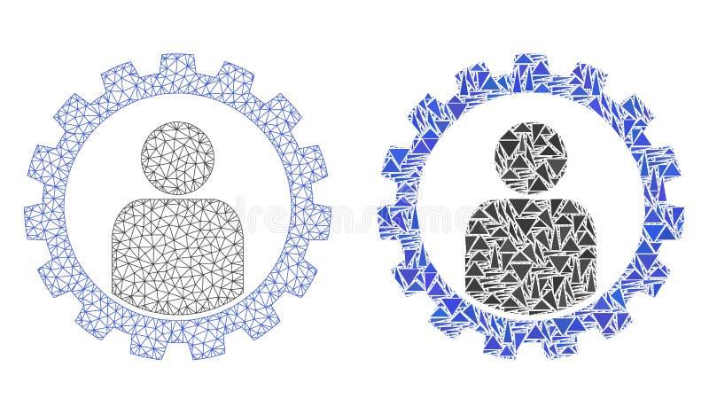 2.o icono poligonal de Mesh Customer Setup Gear y del mosaico ilustración del vector
