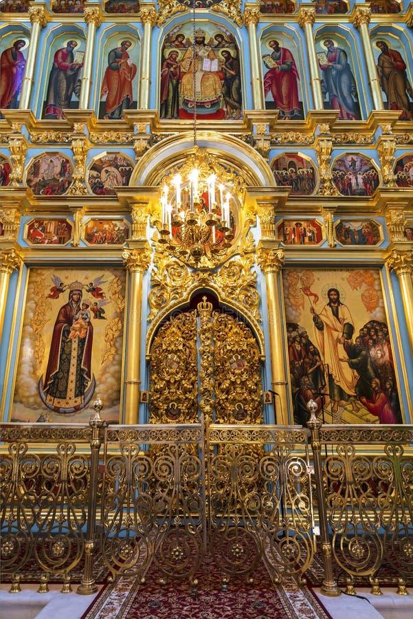 o Iconostasis da catedral da ressurreição do monastério masculino stavropegial do Novo-Jerusalém de Voskresensky, Istra, região d imagens de stock royalty free