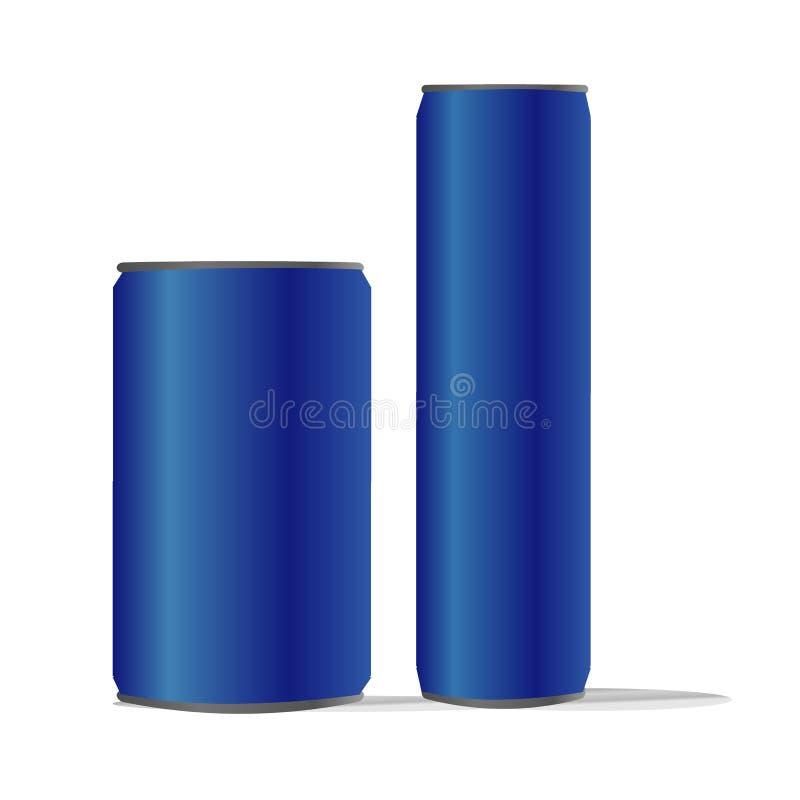 O ideal isolado azul dobro do fundo das latas de alumínio para a energia da cola da limonada da soda do refresco do álcool da cer ilustração stock