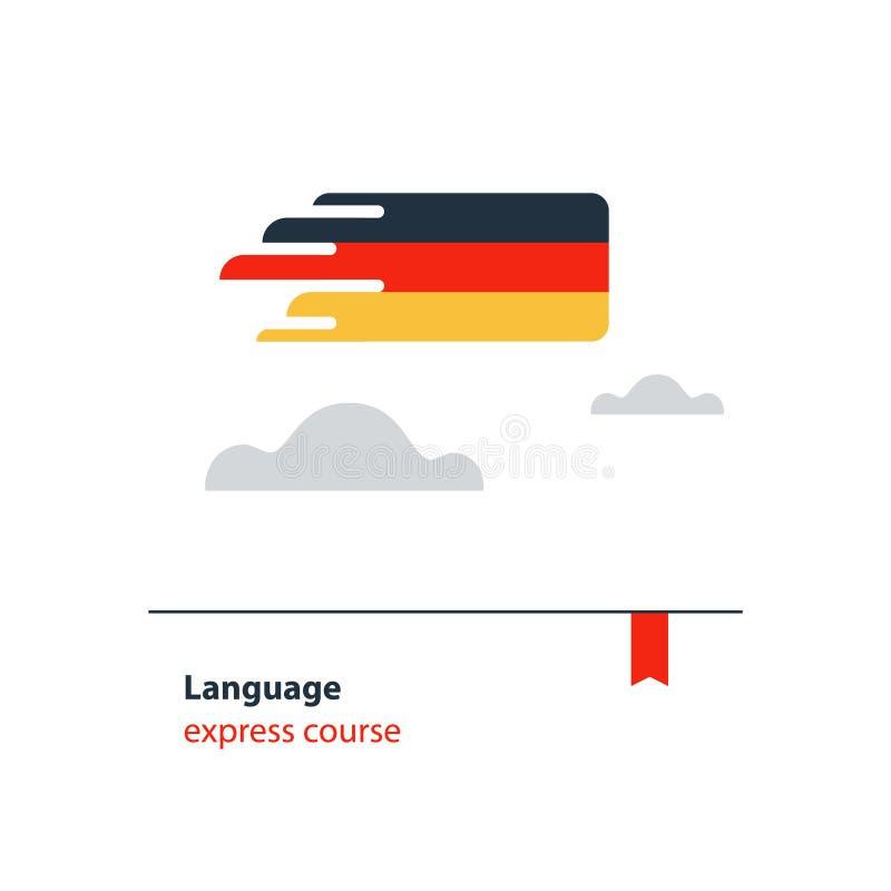 O idioma alemão percorre o conceito da propaganda Língua estrangeira faladora fluente ilustração do vetor