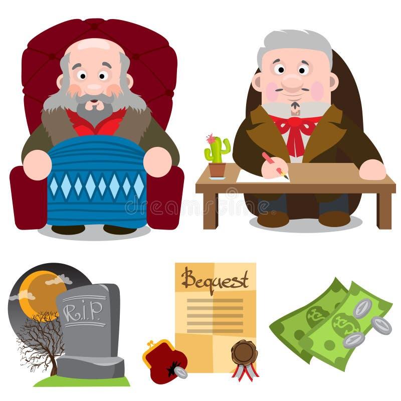 O idoso na cadeira, o homem na mesa, a sepultura, a vontade, o dinheiro Caracteres de desenho ilustração royalty free