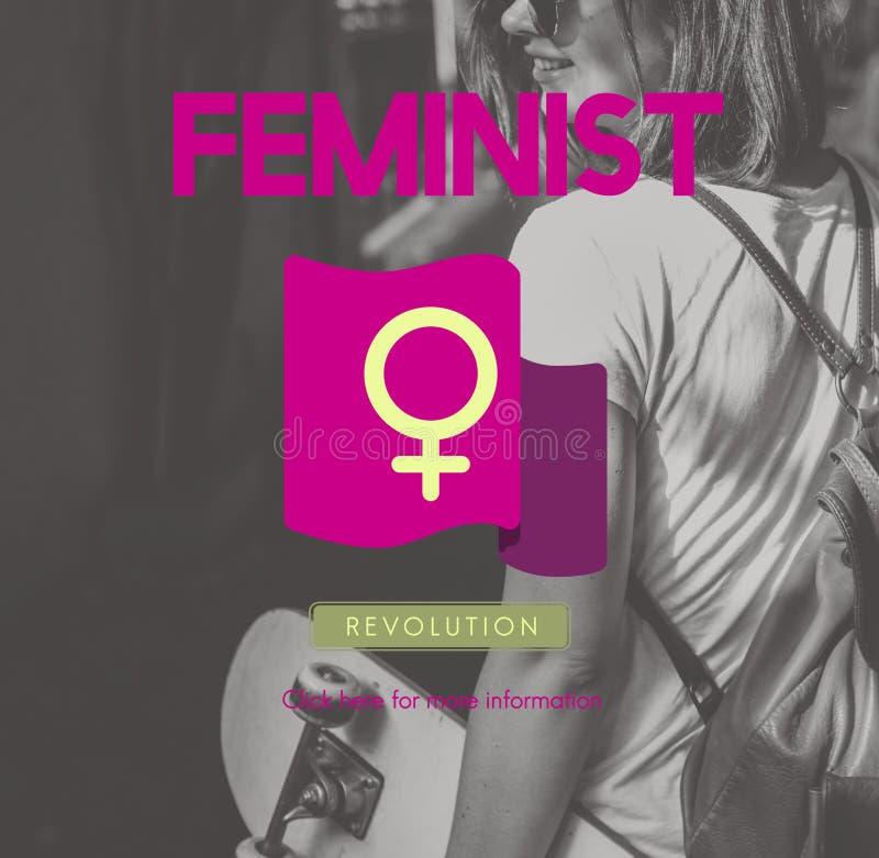 O igual da feminista do poder da mulher endireita o conceito imagens de stock royalty free