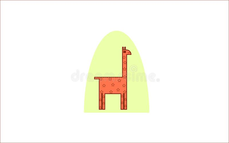 O illustraion engraçado dos desenhos animados do ícone do girafa registra animais fotos de stock
