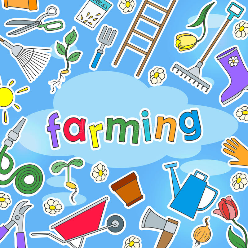 O illustratio do fundo no tema da exploração agrícola e da mola coloriu etiquetas simples dos ícones em um fundo azul e na inscri ilustração royalty free
