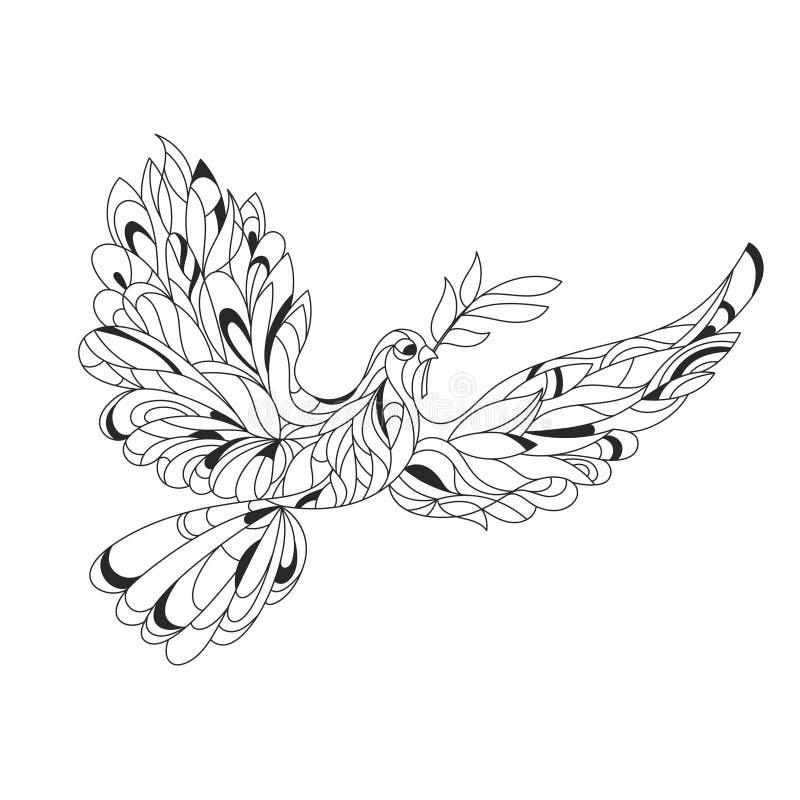 O illustratio tirado do zentagle do vetor mão monocromática da paz mergulhou ilustração stock