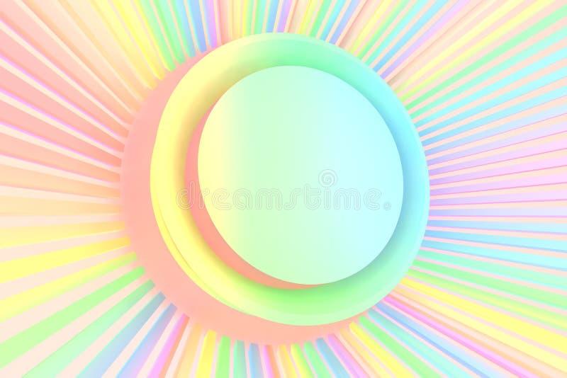 o illutration 3d da cor pastel do arco-íris coloriu o cilinder com sumário ilustração stock