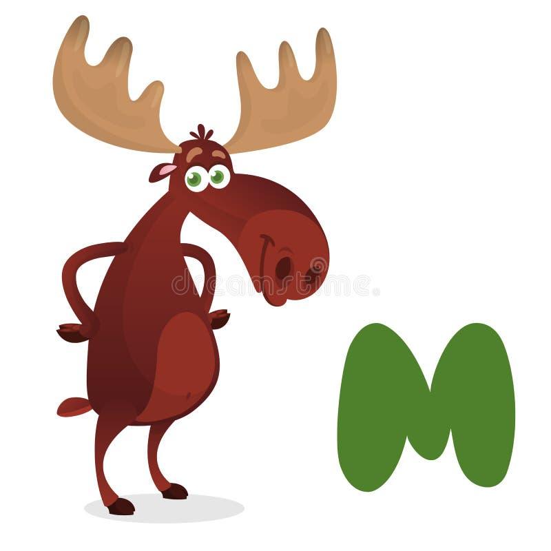 O ilustrador da letra 'M é para alces ' M para o mooser Coleção animal do alfabeto ilustração royalty free