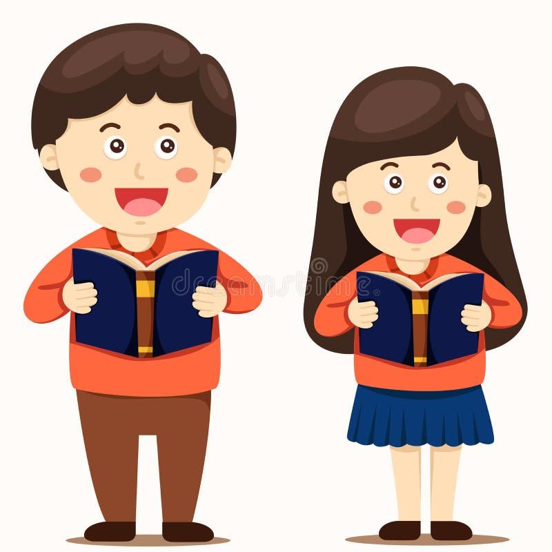 O ilustrador do menino e da menina leu um livro ilustração stock