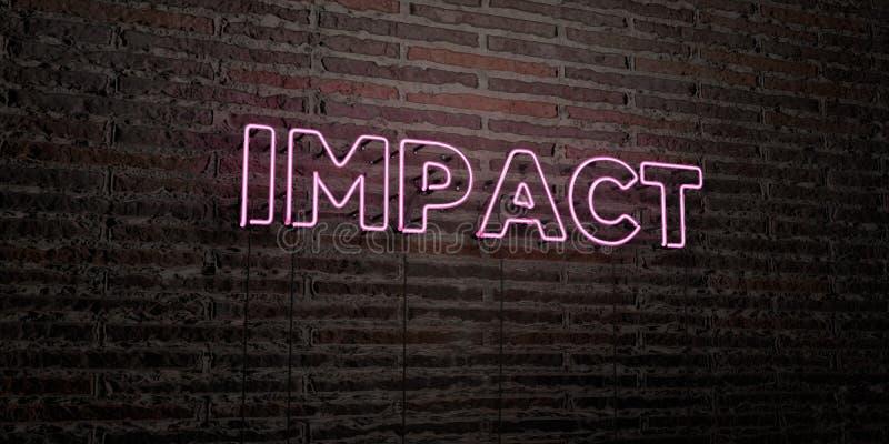O IMPACTO - sinal de néon realístico no fundo da parede de tijolo - 3D rendeu a imagem conservada em estoque livre dos direitos ilustração royalty free