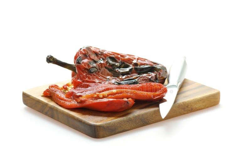 O incêndio Roasted a pimenta vermelha fotografia de stock