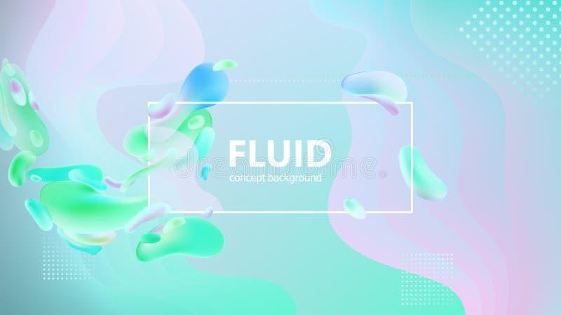 O inclinação fluido dá forma à composição Projeto líquido do fundo da cor Cartazes do projeto Ilustração do vetor ilustração stock